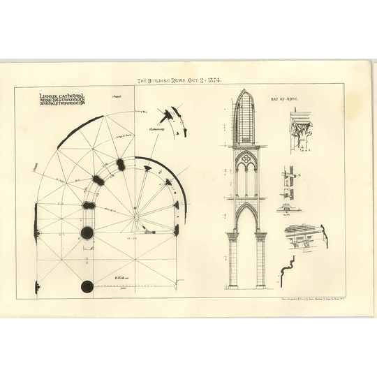 1874 Lisieux Cathedral, Apse Half Ground Plan