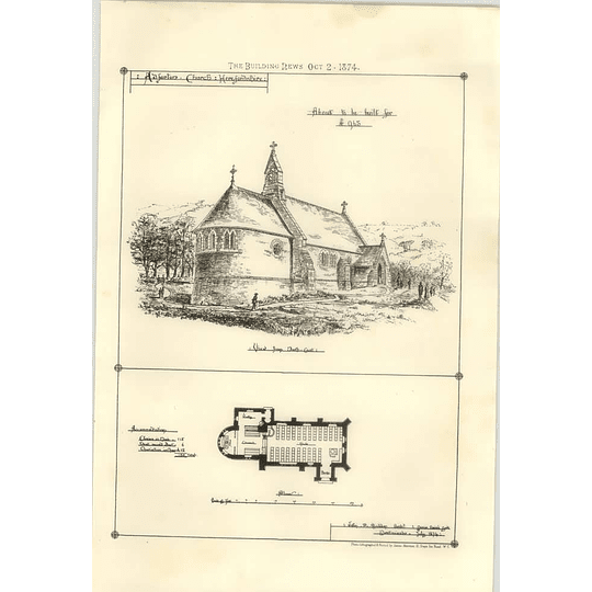 1874 Adforton Church Herefordshire About To Be Built For £965 Plans
