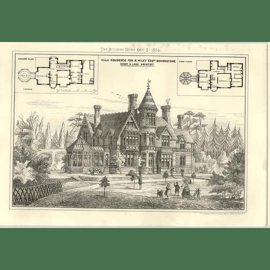 1874 Villa Residence For R Miley Esq Boundstone Henry Legg