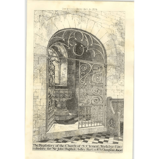 1874 The Baptistery Of The Church Of St Clement Warlabye Lincolnshire