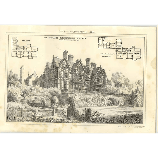 1874 The Highlands, Gloucestershire, N West View, Ewan Christian Architecture
