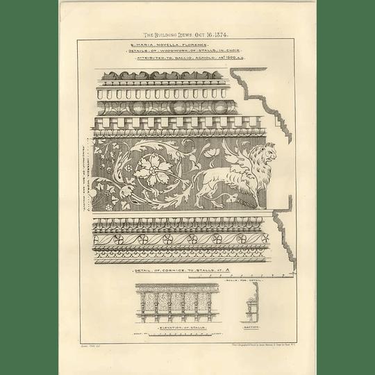 1874 Santa Maria Novella Florence Details Of Woodwork, Stalls In Choir