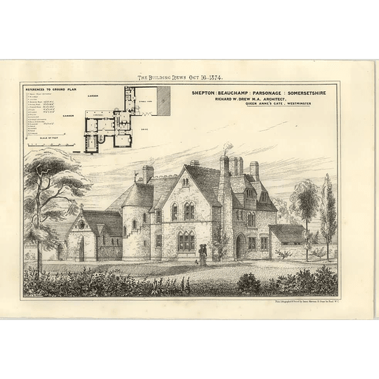 1874 Shepton, Beauchamp, Parsonage In Somersetshire