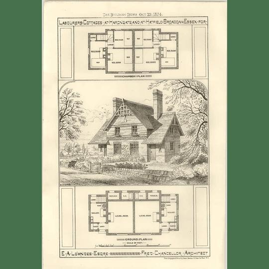 1874 Labourers Cottages HarongateHatfield Broadoak Essex Ea Lowndes Esq