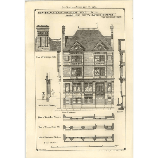 1874 New Branch Of London And County Bank, Sevenoaks Kent Design, Plan