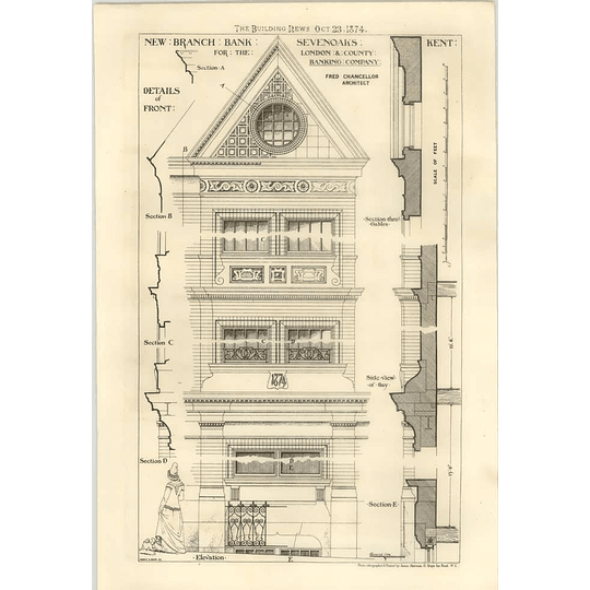 1874 New Branch For London County Banking Company Sevenoaks Sections, Elevation