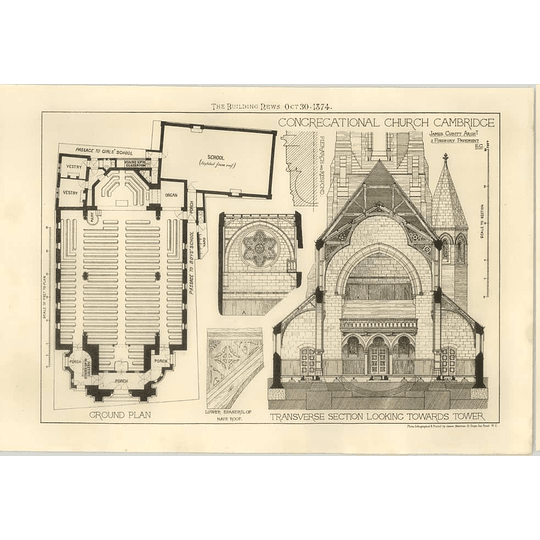 1874 Congregational Church Cambridge Section And Ground Plan, James Cubitt