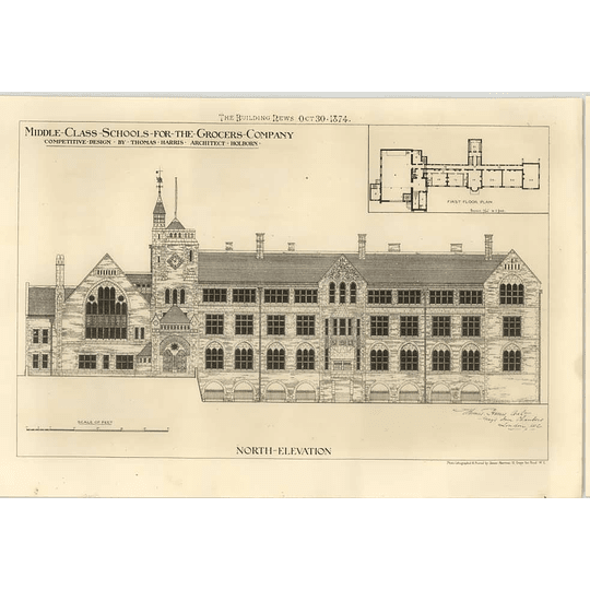 1874 Middle-class Schools For The Grocers Company Designed By Thomas Harris