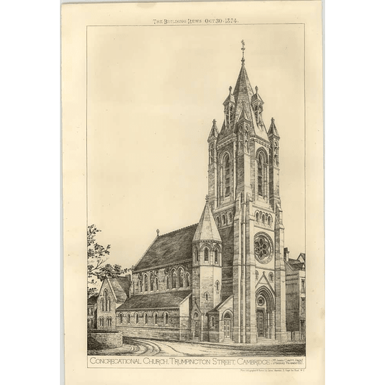 1874 Congregational Church, Trumpington Street, Cambridge Exterior View