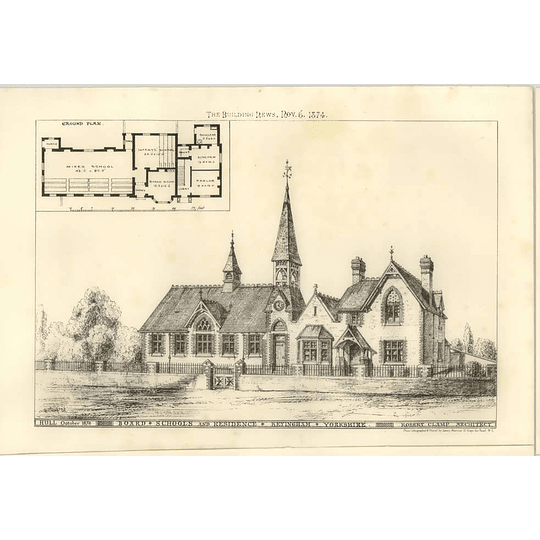1874 Board Schools And Residents, Keyingham Yorkshire Robert Clamp Architect