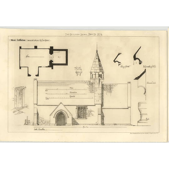 1874 Church At West Littleton Measured And Drawn By Bw Godwin