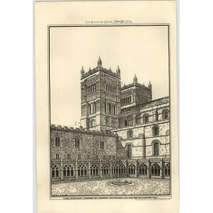1874 Western Tower Of Durham Cathedral, View From The Cloisters