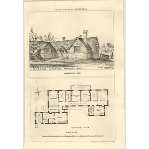 1874 Cottage Hospital, Bromley, Kent Plan And View