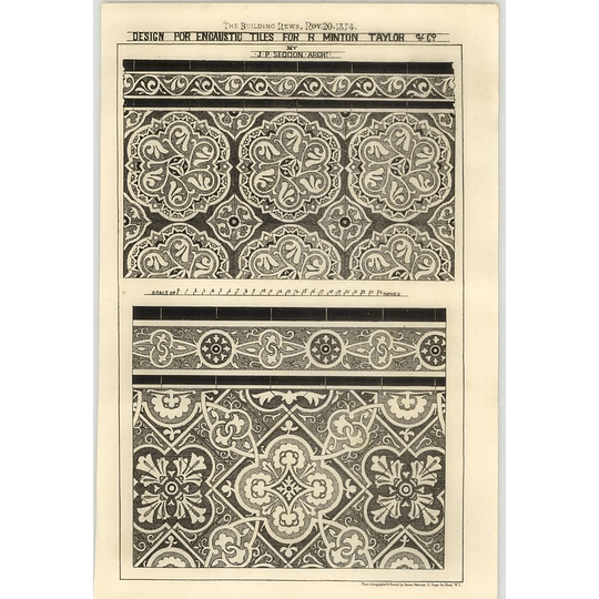 1874 Design For Encaustic Tiles For R Minton Taylor