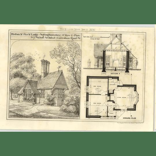 1874 Hodsack Park Lodge Nottinghamshire View And Plan
