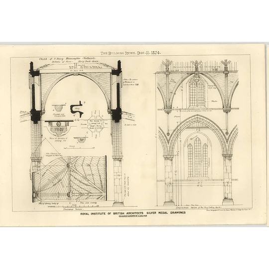 1874 Church Of St Mary Warmington Northamptonshire Drawn By G.d. Oliver