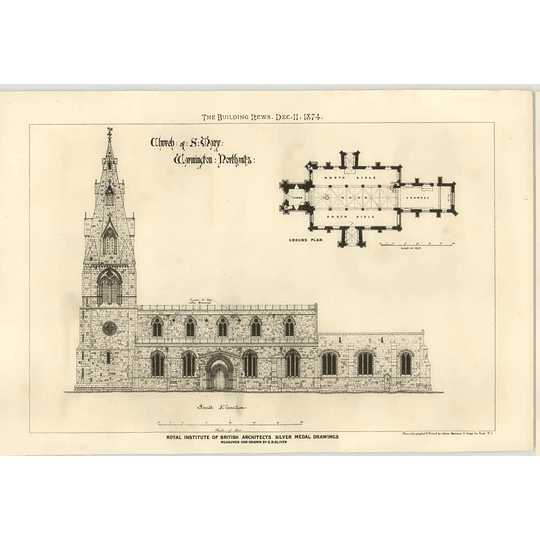 1874 Church Of St Mary's Warmington Northamptonshire Elevation And Plan