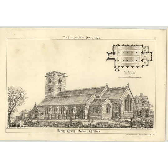 1874 The Parish Church At Neston, Cheshire, Exterior And Plan