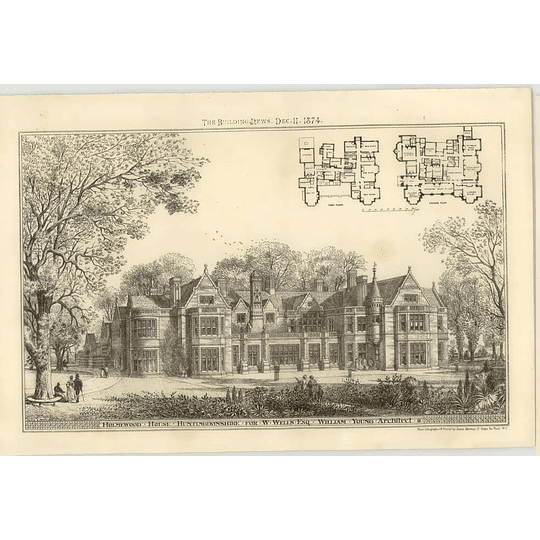 1874 Holmwood House Huntingdonshire For W Wells Esq