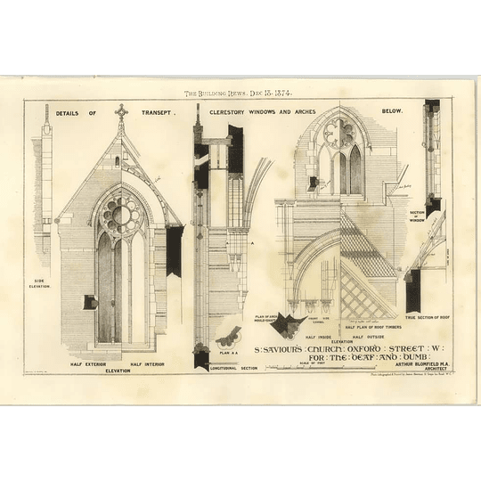 1874 St Saviours Church Oxford Street For The Deaf And Dumb Details Of Transept