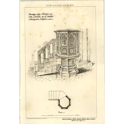 1874 Design For A Pulpit In Church Of St Botolph Redgrave Suffolk