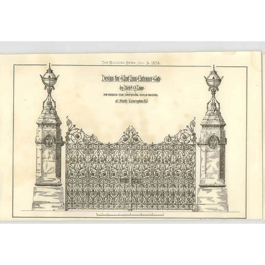 1874 Wrought Iron Entrance Gate Richard Lane Gold Medal South Kensington