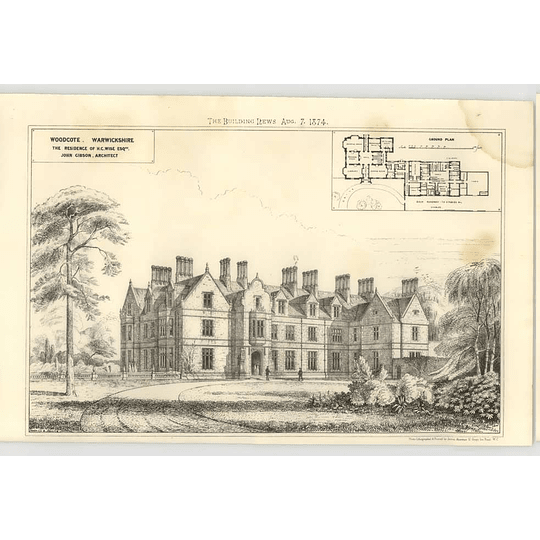 1874 Woodcote Warwickshire, Residents Of Hc Wise Esq Design, Plan