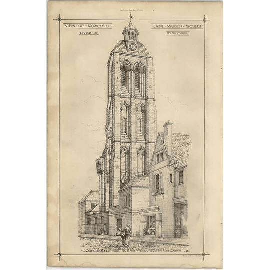 1869 View Of Tower Of St Martin Tours Fw Roper