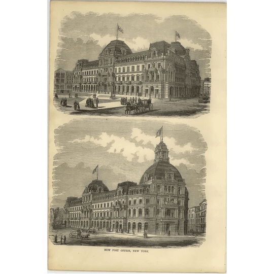 1869 New Post Office, New York, 2 Views