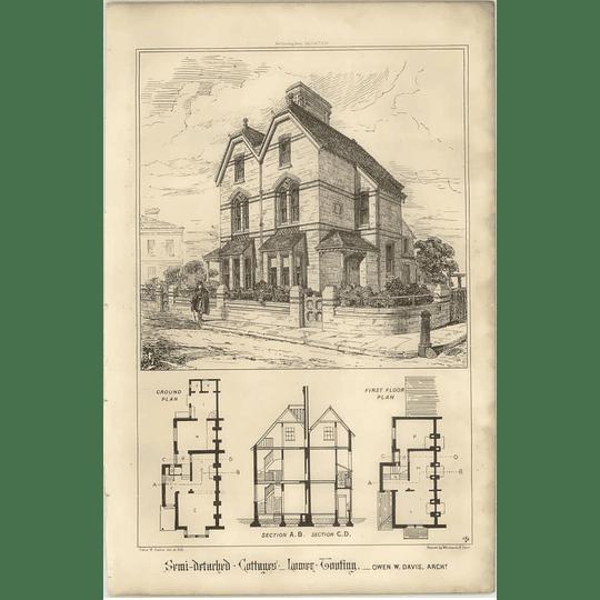 1869 Semi Detached Cottages, Lower Tooting, Owen Davis, Design, Plan