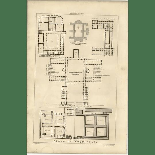 1869 Floorplans Of Hospitals, Rudolph, Vienna, Grand Hospital Milan