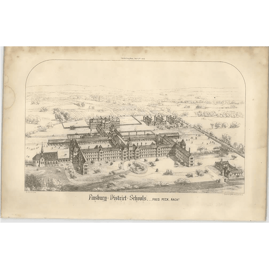 1869 Finsbury District Schools, Birds Eye View, Fred Peck Architect