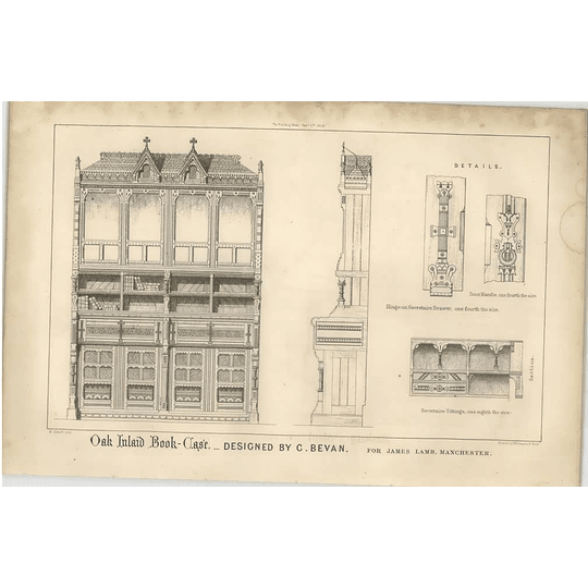 1869 Boat Inlaid Bookcase, For James Lamb, Manchester, Design C Bevan