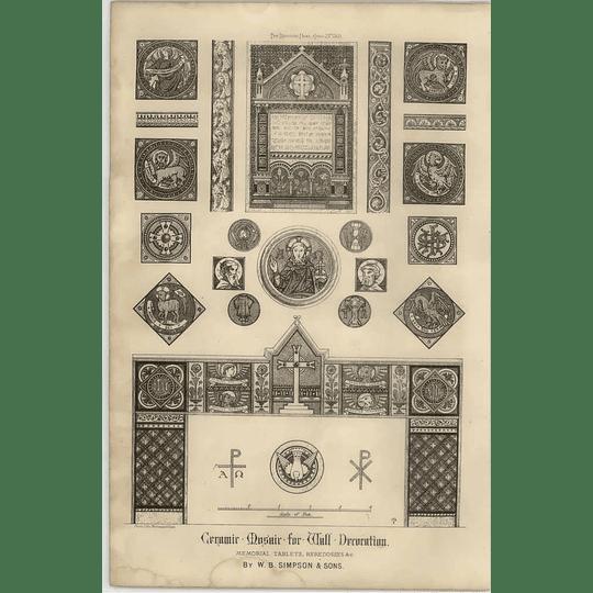 1869 Ceramic Mosaic For Wall Decoration, Memorial Tablets Et Cetera W Simpson