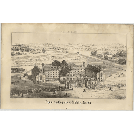1869 Prison For The Parts Of Lindsey, Lincoln, Birds Eye View