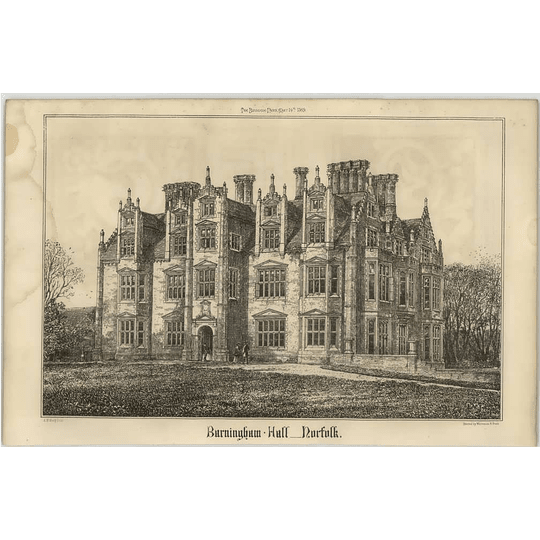 1869 Burningham Hall Norfolk, Sketch