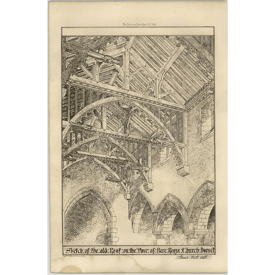 1869 Sketch Of The Old Roof On The Nave Of Bere Regis Church Dorset