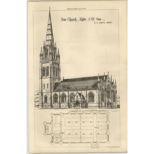 1869 New Church In Ryde Isle Of Wight, Gg Scott Architect