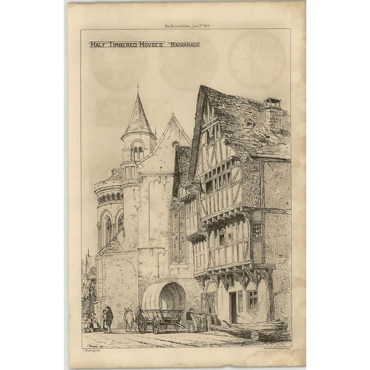1869 Half Timbered Houses In Bacharach