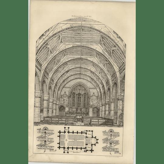 1869 Interior Of St Anne's Church, Warrington, John Douglas Architect