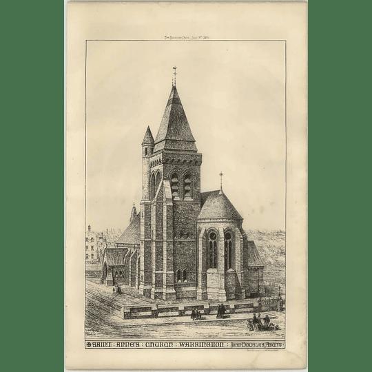 1869 Elevated View Of St Anne's Church, Warrington, John Douglas