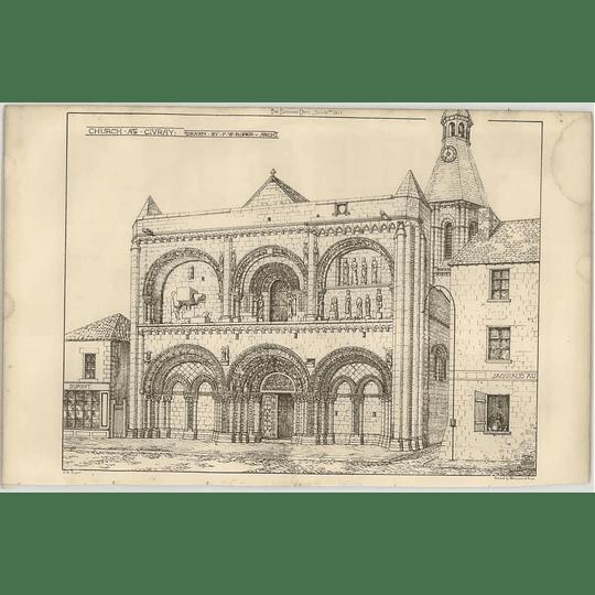 1869 Exterior View Of Church At Civray, Fw Roper Drawing
