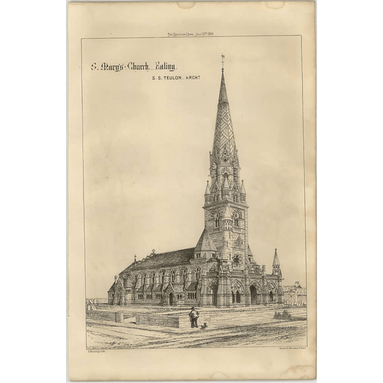 1869 Corner View Of St Mary's Church, Ealing, Ss Teulon, Architect