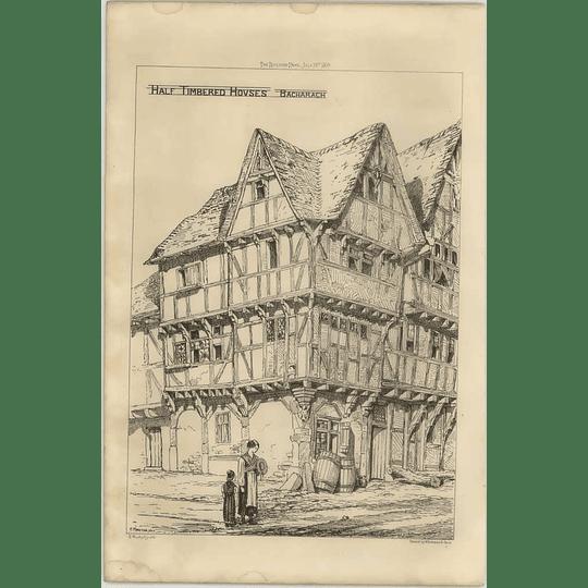 1869 Corner View Of Half Timbered Houses At Bacharach