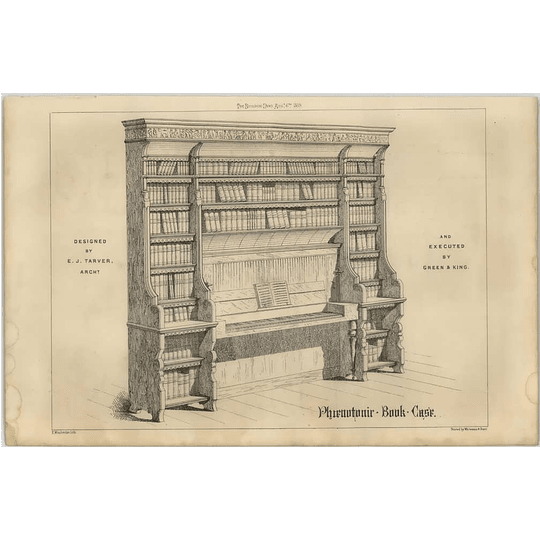 1869 Spinette Book Case Designed By Pj Tarver, Executed Green And King