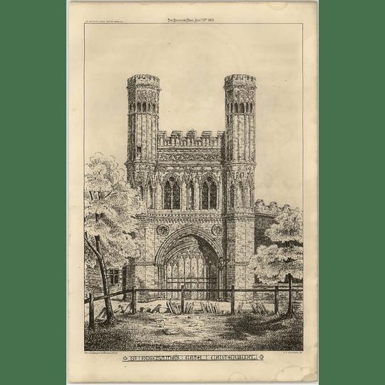 1869 St Augustine's Gate, Canterbury, Sketched Artwork