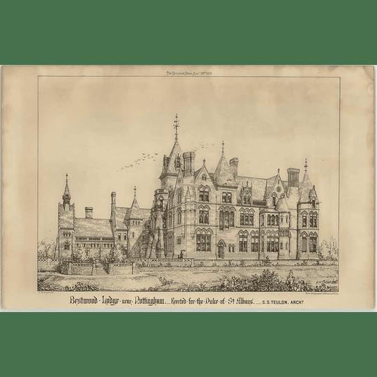 1869 Bestwood Lodge Near Nottingham For Duke Of St Albans Ss Teulon