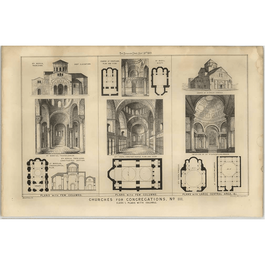 1869 Churches With Plans St Irene Constantinople St Stephens Walbrook