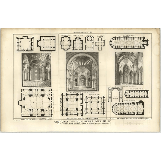 1869 Gerona Cathedral, St Sofia Constantinople, Plans
