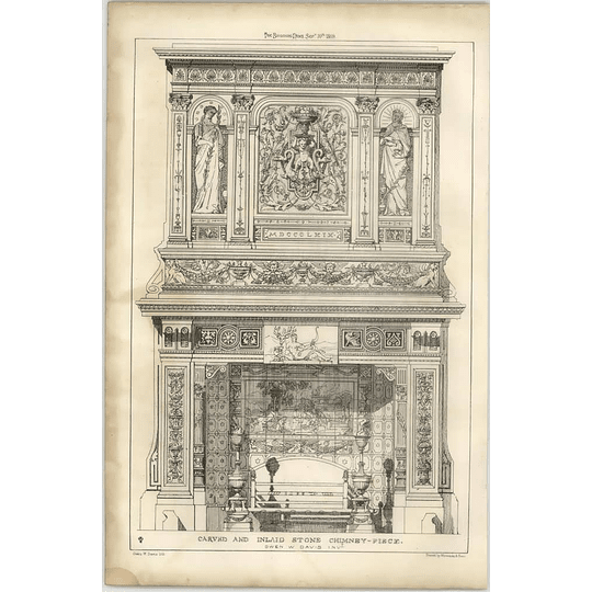 1869 Carved And Inlaid Stone Chimneypiece, Owen Davis